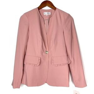 Nanette Lepore Blush Pink Ruffle Blazer